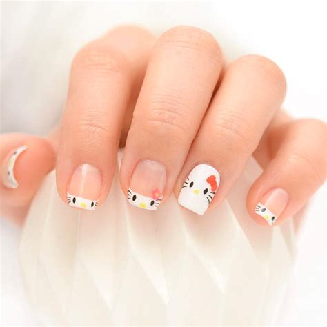 nail art tutorial hello kitty french tips 21 hot french tip nails to copy naildesignsjournal com
