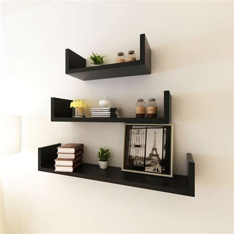 wall display shelves vidaxl co uk 3 black mdf u shaped floating wall display