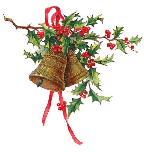 images of christmas art antique images christmas holly gold bells printable clip art