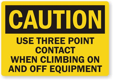 three point use three point contact when climbing equipment label sku
