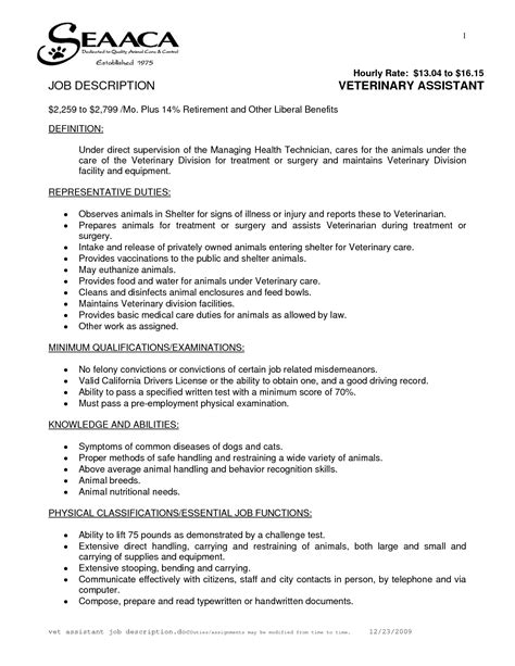What Is A Vet Assistant Description by Veterinary Assistant Duties Resume 28 Images Veterinary Student Resume Exle Resume Ixiplay