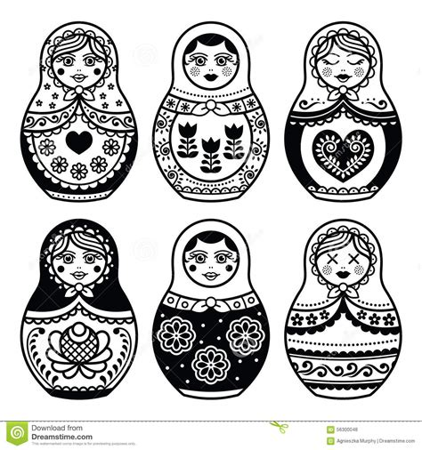 matryoshka russian doll icons set stock illustration