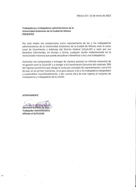 carta modelo de compromiso laboral carta compromiso de los nuevos representantes sutuacm ante la jlcya sutuacm