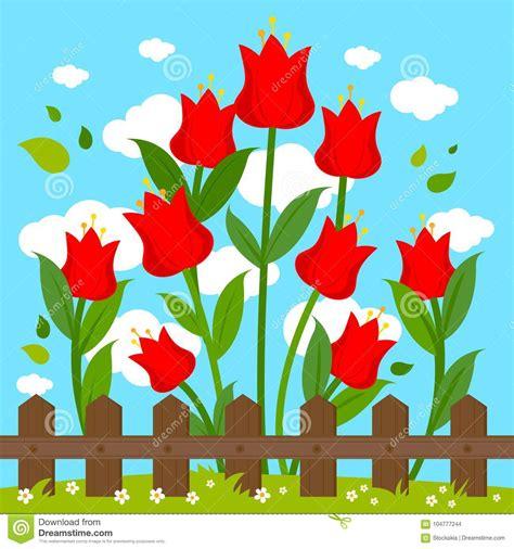 bloemen achter rode bloemen achter houten omheining vector illustratie