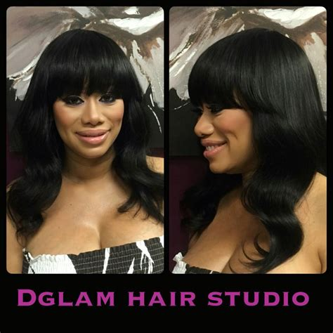best ebony hair extensions stylist in houston long full sewin black hair long body wave hair bangs