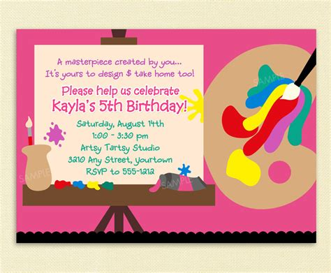 free printable art invitations birthday invites awesome 10 art painting party
