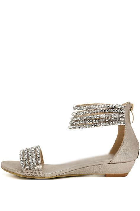 silver low wedge sandals silver beaded open toe low wedge sandals open toe wedge