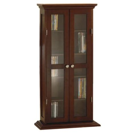 New Wooden Dvd Cd Glass Door Cabinet Antique Walnut Ebay Dvd Storage Cabinet With Glass Doors