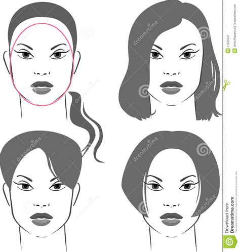 hairstyles  oval face stock vector illustration