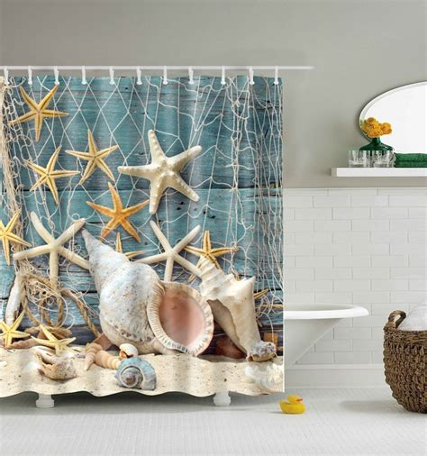 Seashell conch and starfish shower curtain
