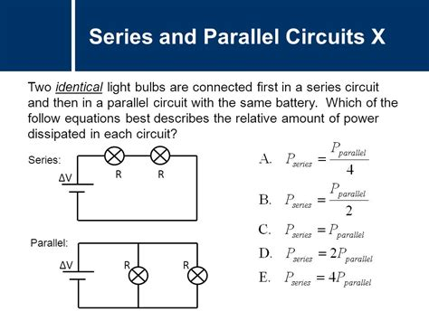 resistors in series and parallel light bulbs physics circuits parallel ppt