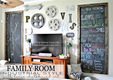 Dining Room Chalkboard Industrial Style Family Room Gallery Wall With Chalkboard