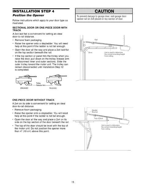 installation step  position  opener sectional door