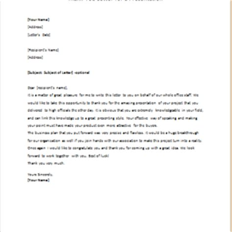 presentation letter for letter to say thank you for excellent presentation