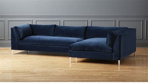 decker 2 navy blue velvet sectional sofa cb2