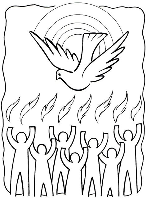 tongues of fire coloring pages holy spirit pentecost