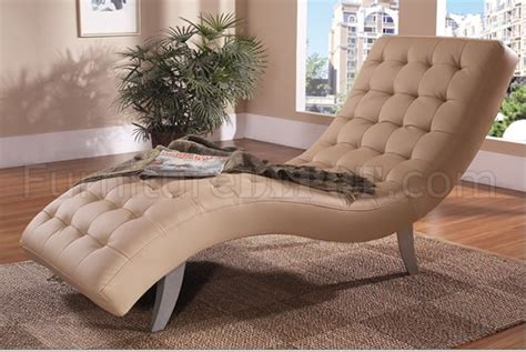 Beige Leather Chaise Lounge Beige Black Brown Or White Tufted Vinyl Modern Chaise