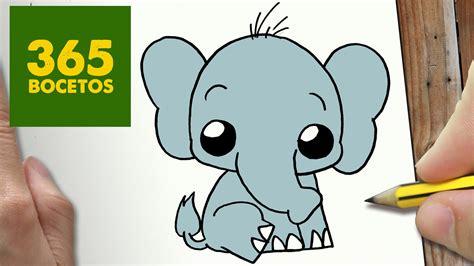 imagenes de animales kawai como dibujar elefante kawaii paso a paso dibujos kawaii