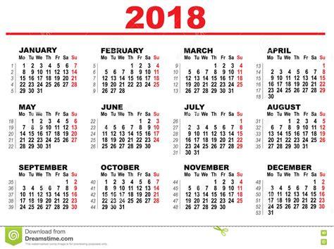 Peru Calendrier 2018 Calendario Di Griglia Per 2018 Illustrazione Vettoriale