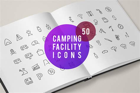 camping facility icons  behance