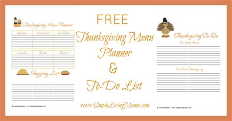 free printable thanksgiving menu planner simple living mama