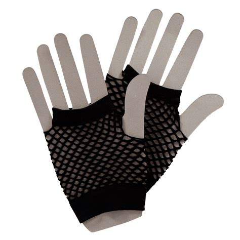 80s Accessories Black by 80s Gloves Neon Black White Fancy Dress Fingerless