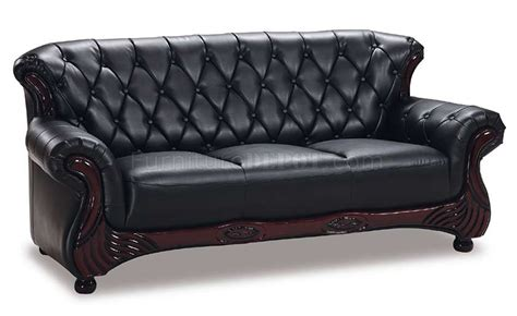 black leather classic living room sofa w button tufted backs