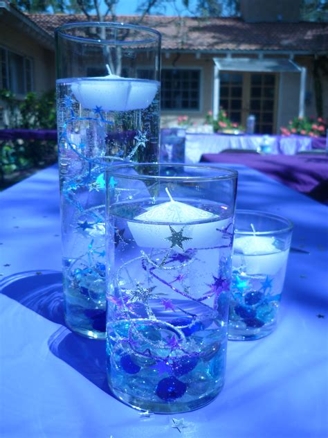 blue themed centerpieces purple blue centerpiece stars coronation pinterest