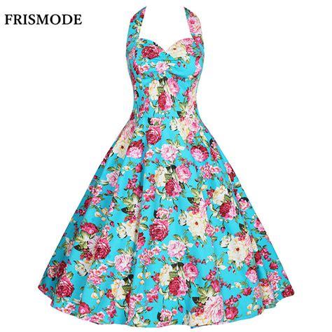 1950 s swing dresses frismode xs 4xl floral print sleeveless halter dress 2017