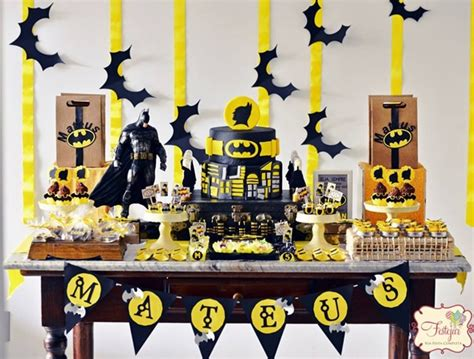 Decorating A Buffet Table Batman Themed Birthday Party Pretty My Party