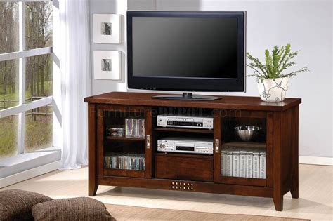 Modern Tv Cabinet With Doors Walnut Finish Modern Tv Stand W Two Glass Doors