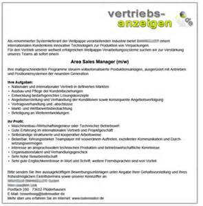 Anschreiben Muster Jobborse Muster Stellenanzeigen Vertriebs Anzeigen De