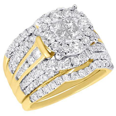 princess diamond wedding bridal set 14k yellow gold halo engagement ring 2 49 ct ebay