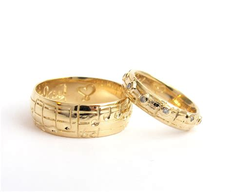 your song wedding ring set yellow white gold made to