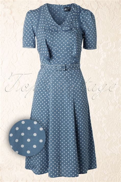 Nl Dress Polka 40s dress in pastel blue with white polka