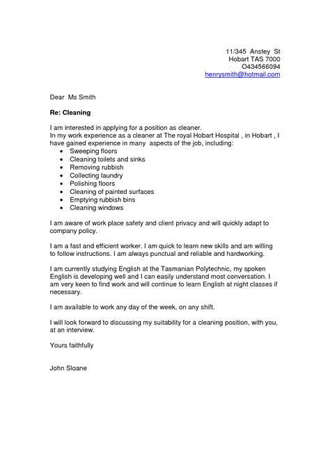 cleaner cover letter cleaning cover letter sles cover letter