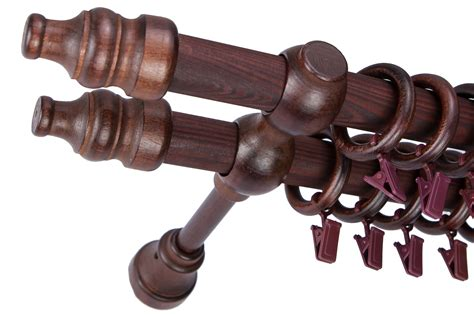 wooden curtain rings with clips 28 28mm wooden double curtain pole rail set poles rings