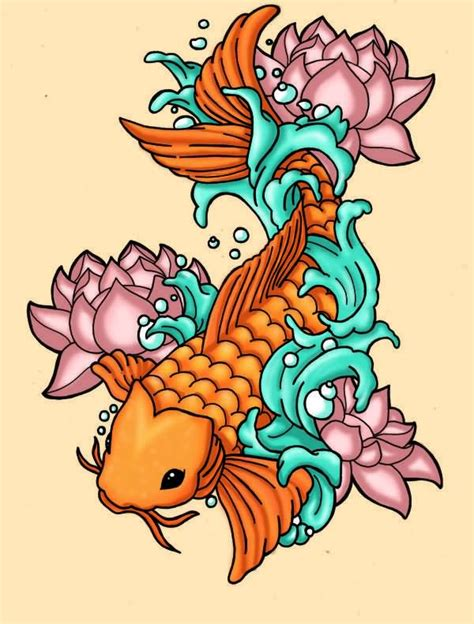 koi flower tattoo designs lotus flowers and fish on left half sleeve by fanel