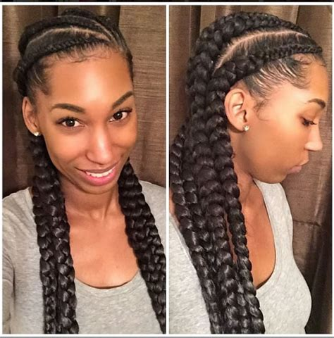 Four Braids Hairstyle by Eye Catching Goddess Braids Charming Goddess Braids