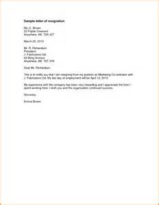 5 formal resignation letter sle with notice period