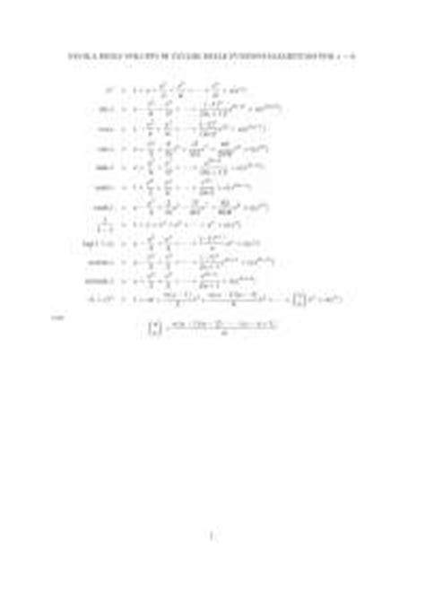 tavole di integrali tavole derivate integrali sviluppi in serie di