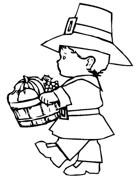 kids printable pilgrim coloring pages for thanksgiving