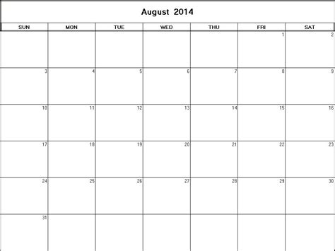 August Calendar 2014 August 2014 Printable Blank Calendar Calendarprintables Net
