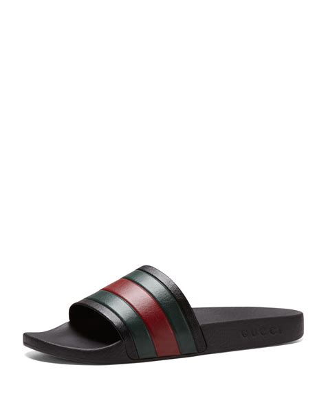 gucci pursuit 72 slide sandals gucci pursuit 72 rubber slide sandal in black for lyst