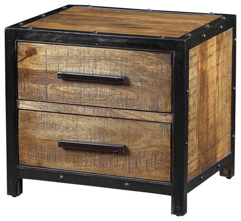 table de nuit style industriel delia table made of mango wood with black metal