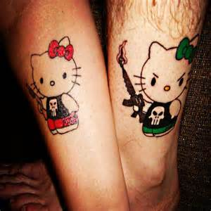 awesome hello kitty couple tattoo on leg tattoobite com