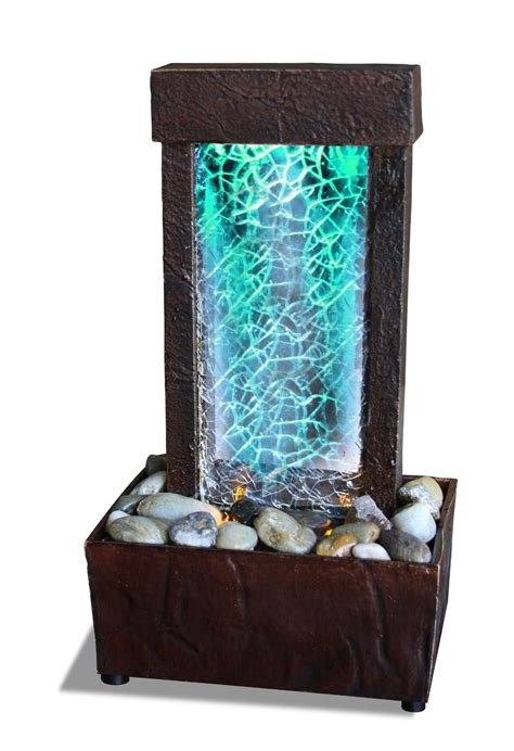 Small Water Fountains For Desk Cracked Glass Light Show Led Indoor Tabletop Fountains Calm