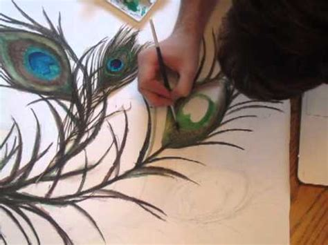 Mural Wall Hanging speed painting 3 peacock feather youtube