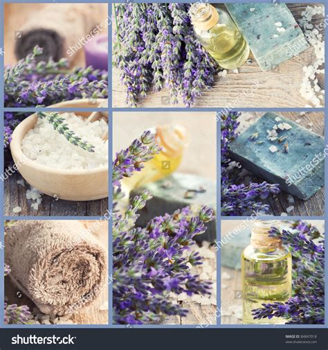 Handmade Spa Products - wellness spa collage of fresh lavender products images