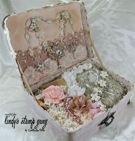 shabby chic suitcase vintage shabby chic suitcase made from chipboard laces trims pearls bling brooches and